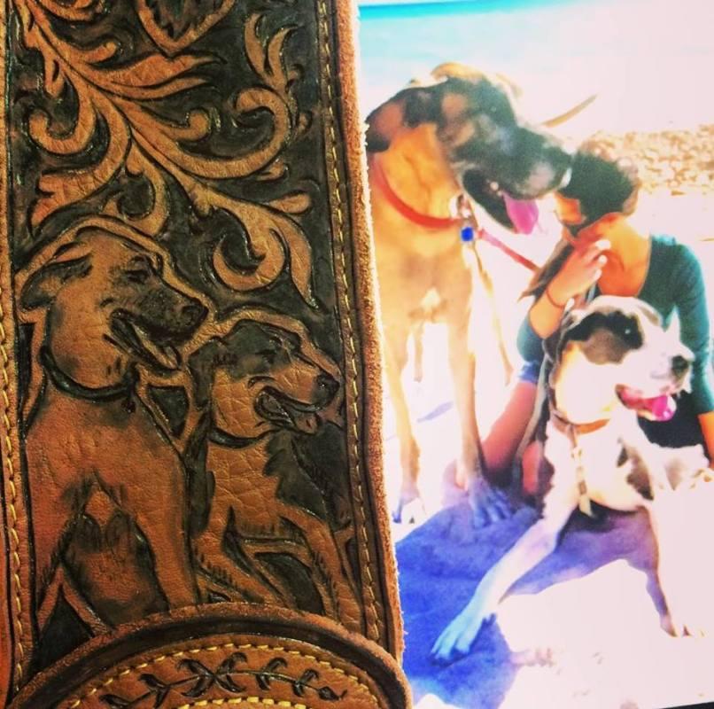 Burnwizard pet dog portrait leather engraving custom guitar strap