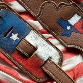 BurnWizard Texas flag custom leather guitar strap