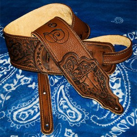 Burnwizard paisley country western scrollwork custom leather guitar strap