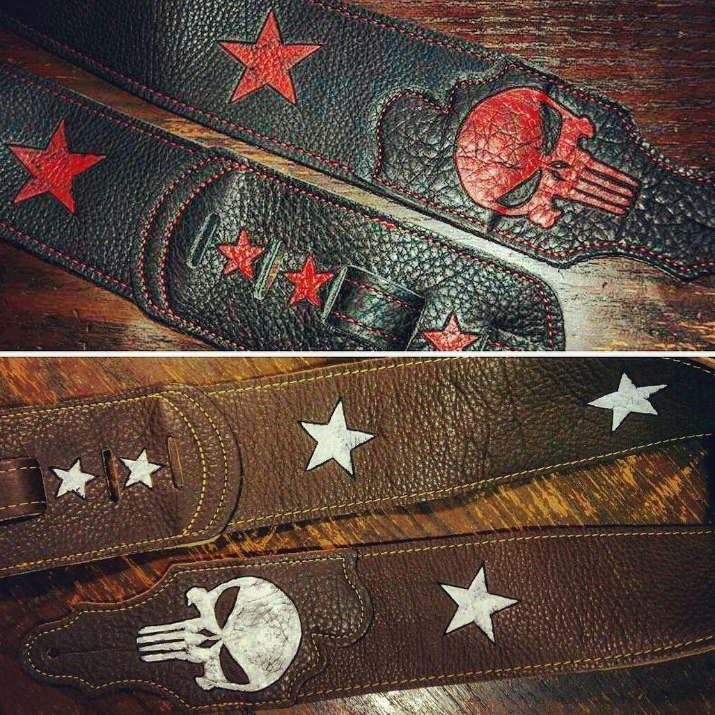 punisher-skull-red-white-leather-custom-guitar-strap-burnwizard