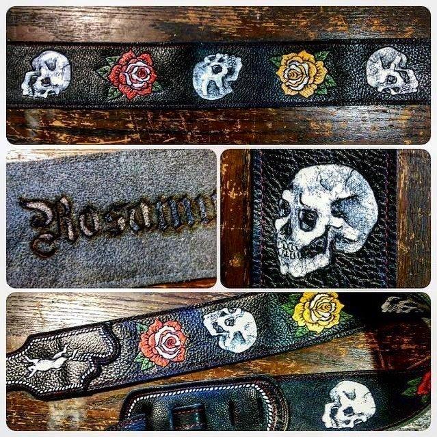 roses-skulls-yellow-red-black-leather-custom-guitar-strap-burnwizard