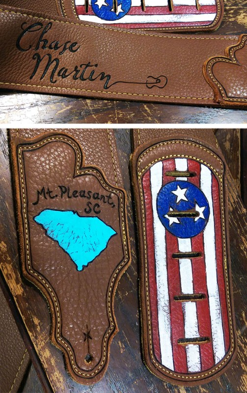 south carolina burnwizard flag custom guitar strap