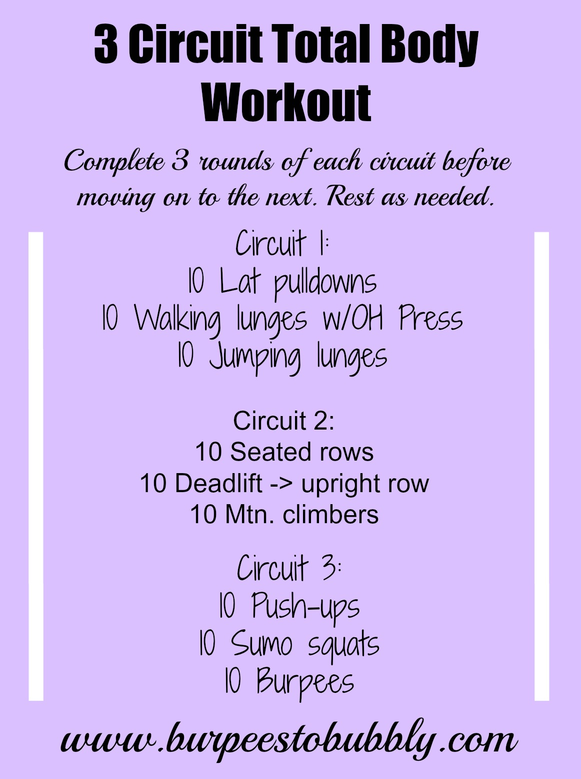 Circuit Workout Burpees To Bubbly