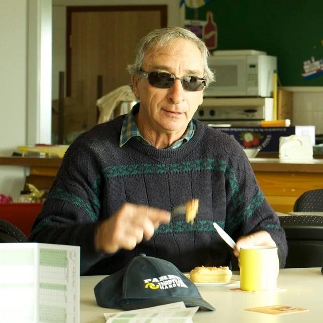 Bob Taylor eating a pie