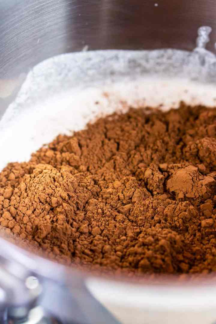 The cocoa powder in the saucepan before whisking.