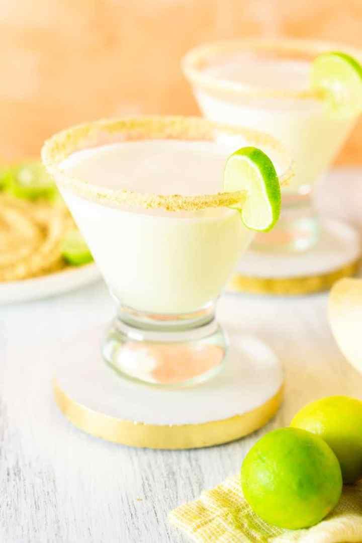 A closeup of the sparkling key lime pie martini