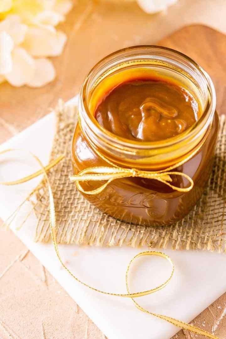 Looking down into a jar of bourbon caramel sauce after it's set.