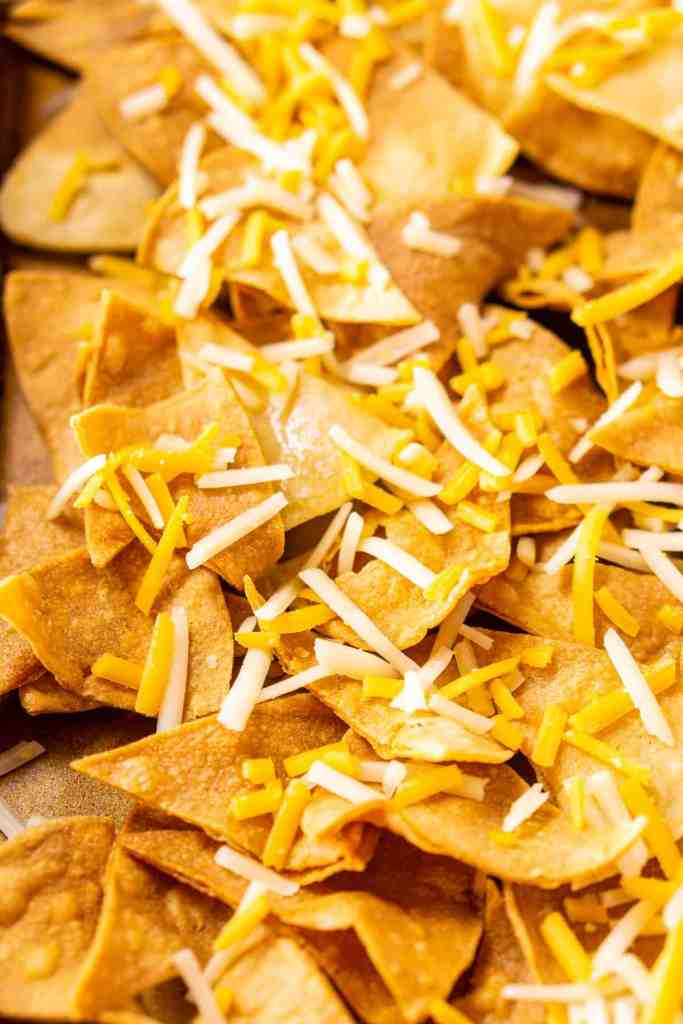 The tortilla chips with the initial sprinkling of cheese on a sheet pan.
