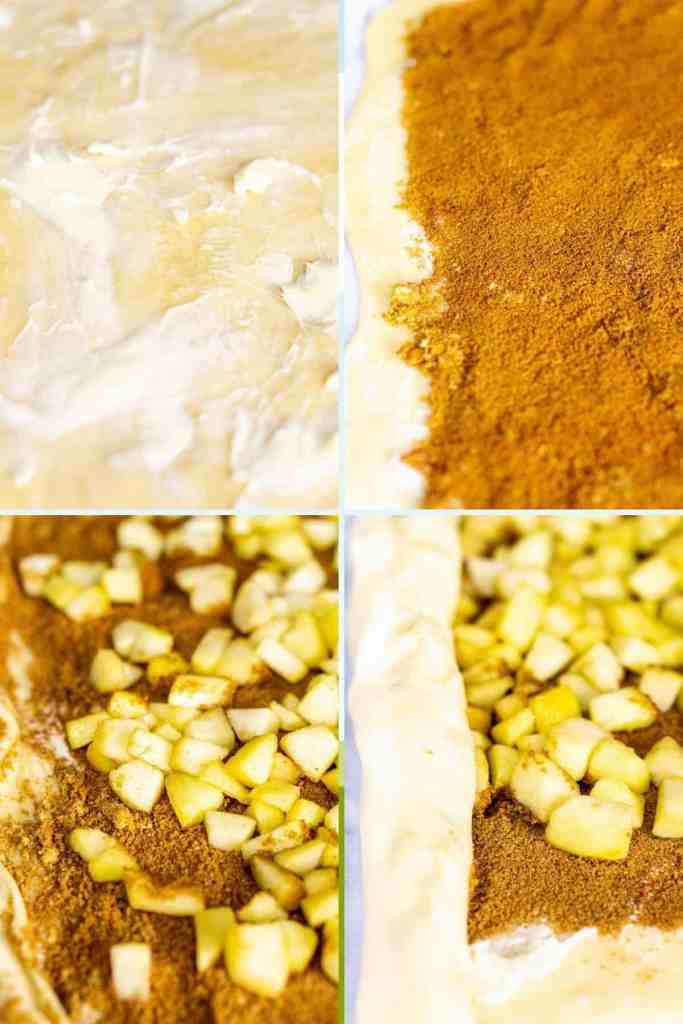 A collage showing how to fill the dough with butter, cinnamon, sugar and apple and then beginning to roll it into a log.