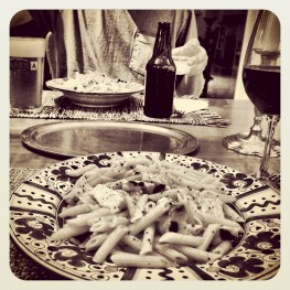 The end product :: penne pasta with swordfish, mint & pine nuts.