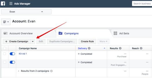 Facebook Ads Manager Create Campaign Button