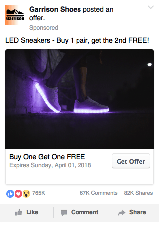 Facebook Offer Ad Example - Shoe Store