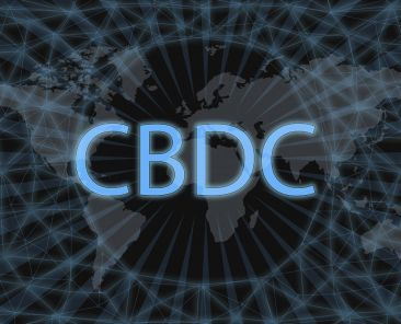 CBDC (Central Bank Digital Currency) Abstract Cryptocurrency. With a dark background and a world map. Graphic concept for your design.