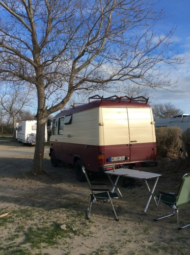 Unser Stellplatz auf dem Camping La Brise.