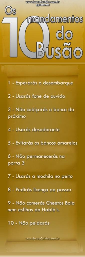 10 mandamentos do busão