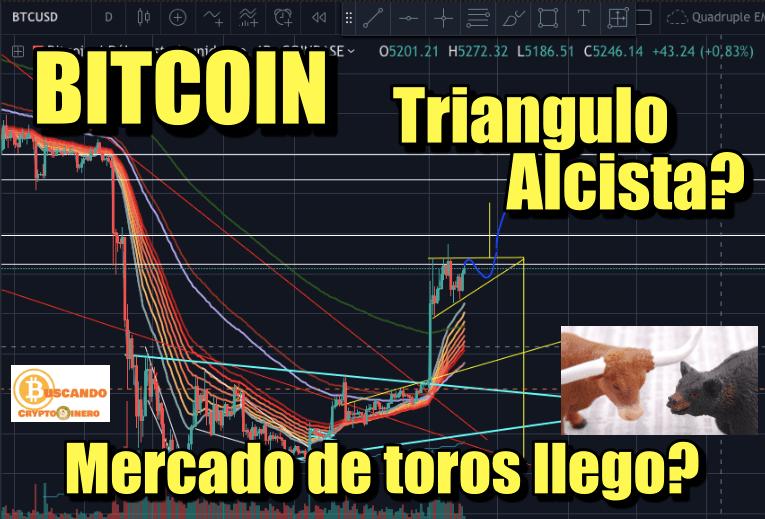 En este momento estás viendo BITCOIN Triangulo Alcista? Mercado de Toros llego?