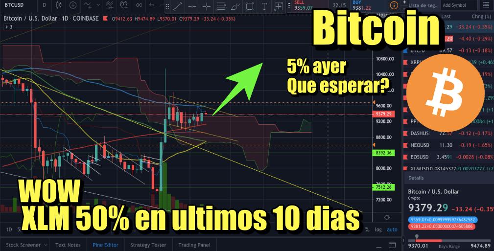 En este momento estás viendo Bitcoin subio 5% que esperar? XLM 50% en 10 dias y mas