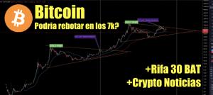 Lee más sobre el artículo Bitcoin podra rebotar en los 7k? + Rifa de 30 BAT +  Crytpo Noticias
