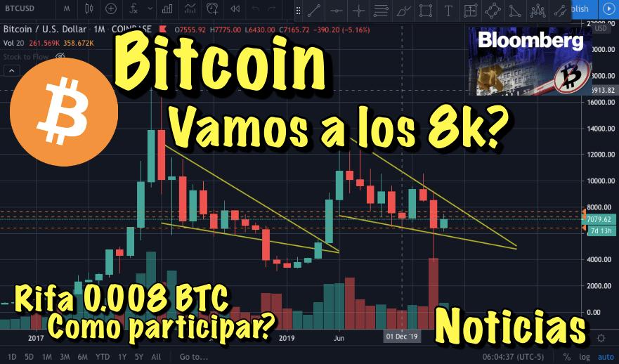 En este momento estás viendo Bitcoin ¿Nos vamos a los 8000? + Noticias Crypto y como participar en rifa de 0.008 BTC