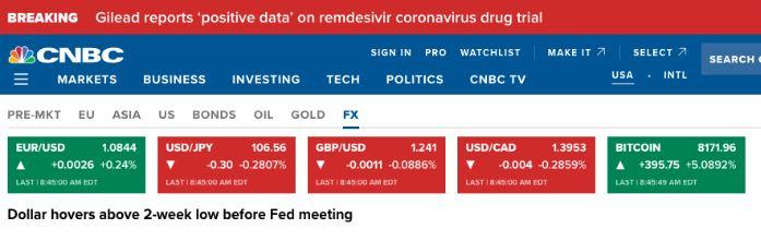 En este momento estás viendo @CNBC finalmente agregó #bitcoin en la pestaña FX