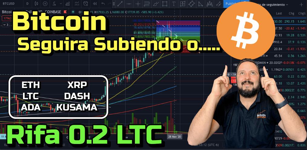 Lee más sobre el artículo Bitcoin seguira subiendo o…??? + RIFA de 0.2 LTC + ETH, LTC, ADA, XRP, Dash y Kusama !!