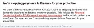 Lee más sobre el artículo Santander bloquea los pagos a Binance para los titulares de cuentas del Reino Unido