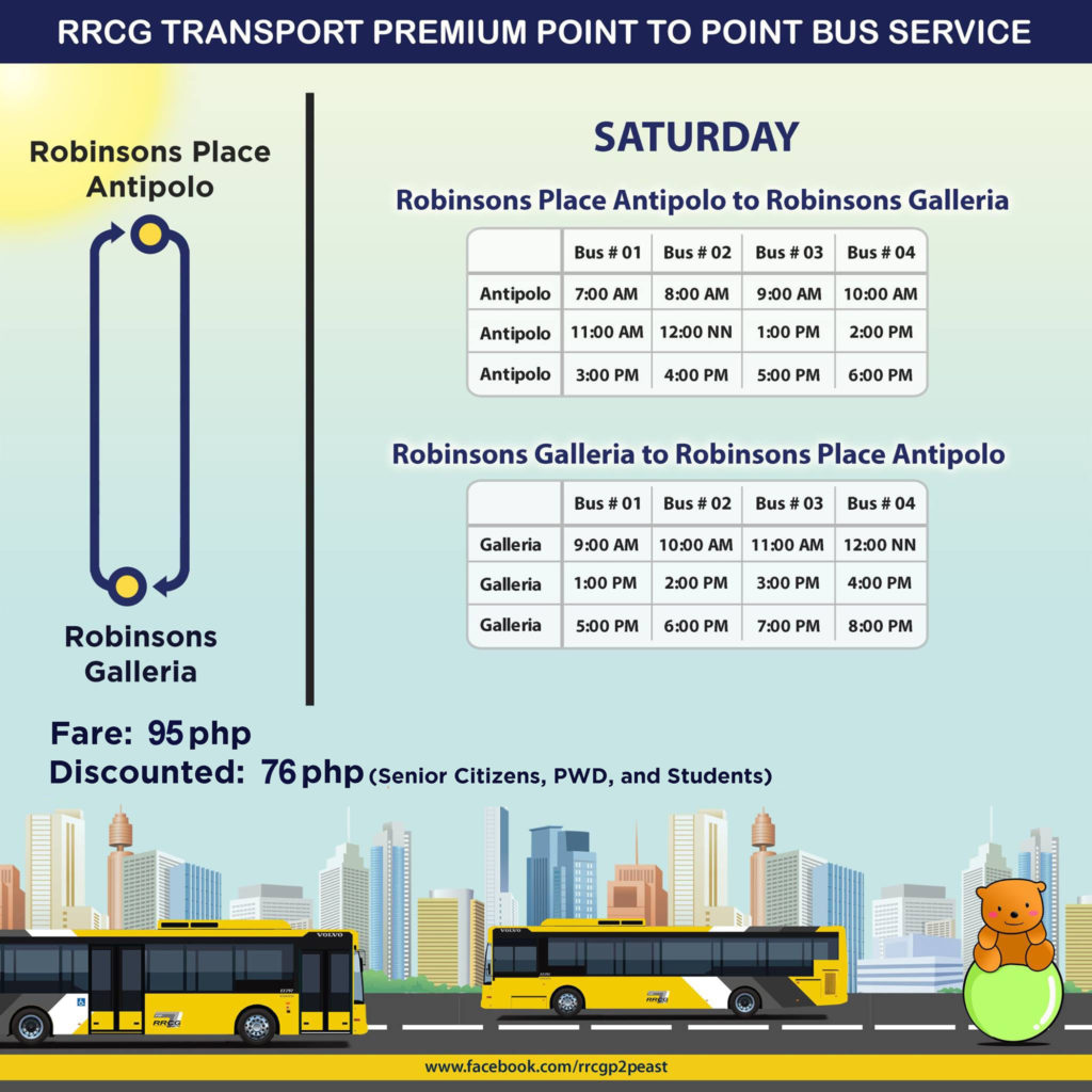 RRCG Antipolo to Robinsons Galleria P2P Bus Schedule