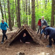 Working as a team to build a shelter
