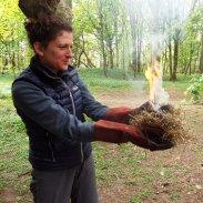 Fire lighting - flaming tinder bundle