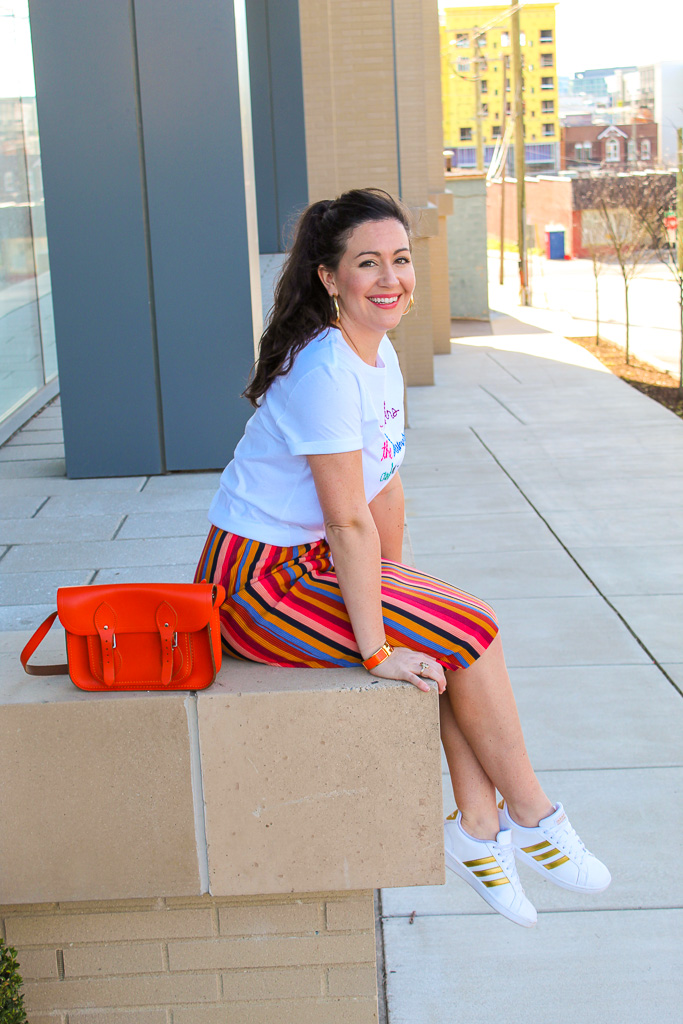The BEST Rainbow Striped Skirt for Spring