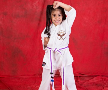 preschool girl in Little Eagles Martial Arts uniform