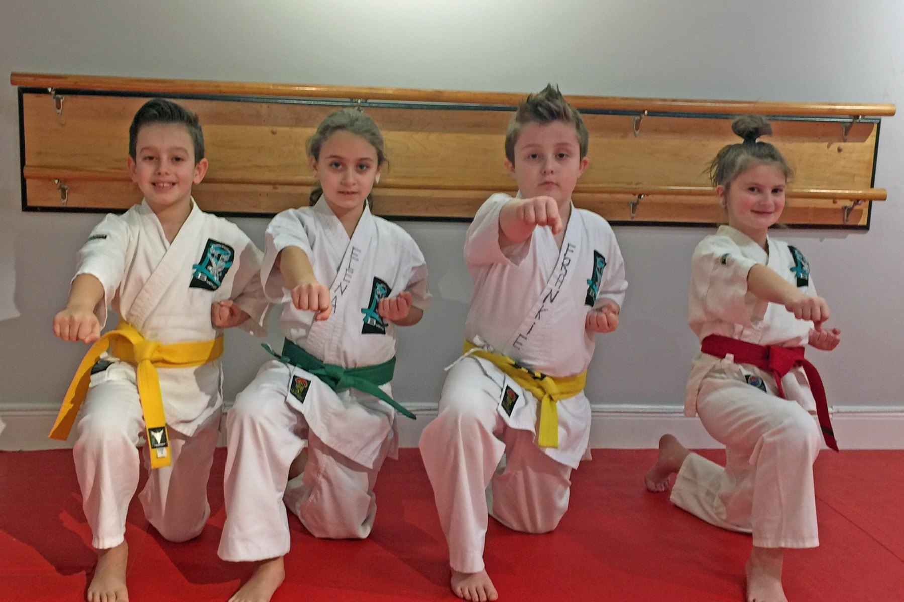 kids in karate uniforms