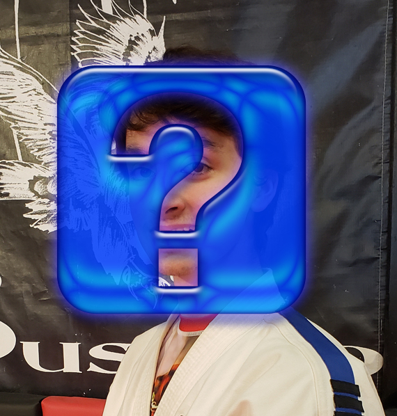 karate student with face hidden by question mark