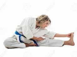 woman martial artist stretching