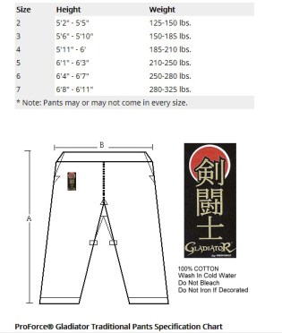 karate pants hw size chart