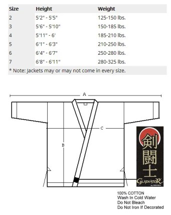 heavy weight top size chart