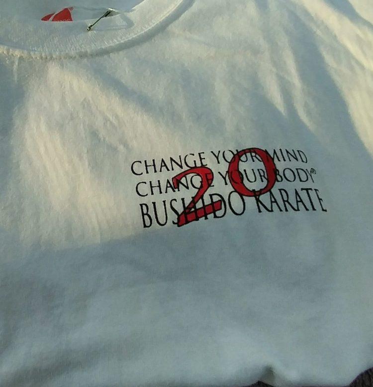 Bushido Karate 20th anniversary tshirt front