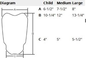shinguard measurement chart