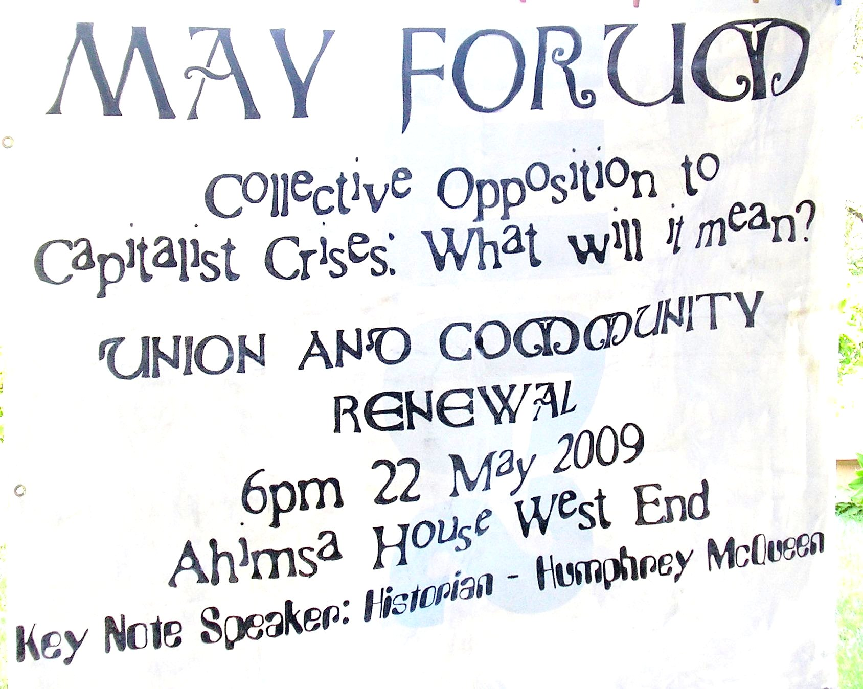 May Forum: Collective Resistance to the crisis, what will it mean?
