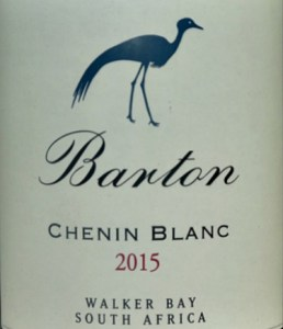 Barton Estate Chenin Blanc 2015 from the terrific 2015 Cape vintage. Dry, full flavoured, complex with excellent fruit and minerallity. Great value for this quality; IWSC Silver medal.
