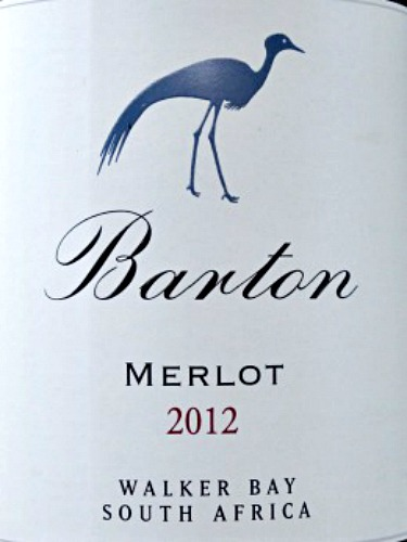 Barton Estate Merlot 2012; full-bodied award-winning merlot from South Africa