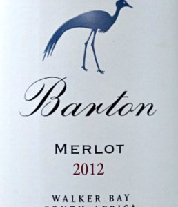 Barton Estate Merlot 2012; full-bodied award-winning merlot from South Africa