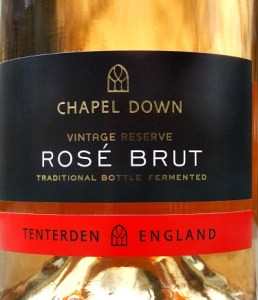 Chapel Down Brut Rose Reserve; silky English Sparkling Rose made from Pinot Noir. Grapes grown in Sussex and Kent