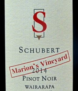 "Schubert Marion's Vineyard Pinot Noir is a classic. Refined berry and bramble fruit nose with smoky hints and a nod towards the ""forest floor"" aroma. Complex layers of raspberry, blackcurrant and cherry fruit with hints of spice coupled with terrific finesse. Poised and well structured Pinot Noir from Martinborough, New Zealand."