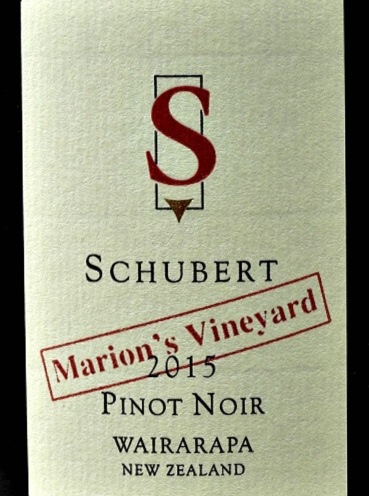 Schubert Marion's Vineyard Pinot Noir 2015 has refined strawberry and dark cherry fruit aromas with forest floor aroma hints. Savoury blackcurrant and red fruit flavours, complex, very long. This wine is silky and smooth Pinot Noir with great finesse. Jancis Robinson MW 17/20. Beautifully blaanced and harmonious Pinot Noir.