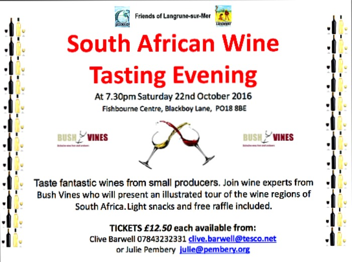Wines of South Africa Tasting at Fishbourne Centre 22 October 2016: Wine Tasting Evening: 8 terrific wines: Bush Vines Emsworth present