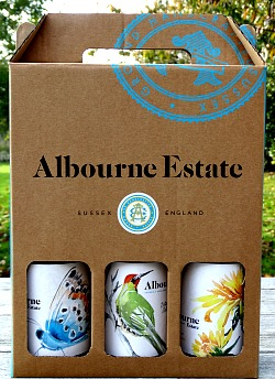 Albourne Estate English Wine Gift Box comes complete with Tasting Notes. This makes a terrific present for anyone interested in English Wines. Three very different styles but delicious still white wines from West Sussex. Award-winning winery of Alison NIghtingale.