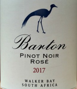 Barton Estate Pinot Noir Rosé 2017, blush rosé, inviting, just off dry, smooth and long. Lovely strawberry fruit flavours. Perfect spring and summer drinnking. Great value from South Africa.