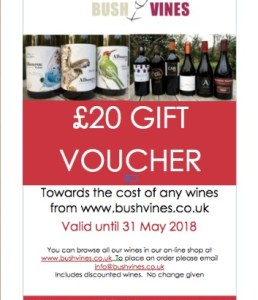 Bush Vines Gift Voucher for the wine lover in your life. Perfect present.
