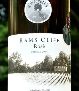 a'Becketts Rams Cliff Rosé. Delicate English Rosé from small family-run vineyard in Wiltshire. a'Becketts Rams Cliff Rose 2017, Bronze Medal winner. Strawberry aromas and wild strawberry flavours with raspberry hints. Great balance of fruit with a fresh finish. Perfect summer aperitif at 11% abv.